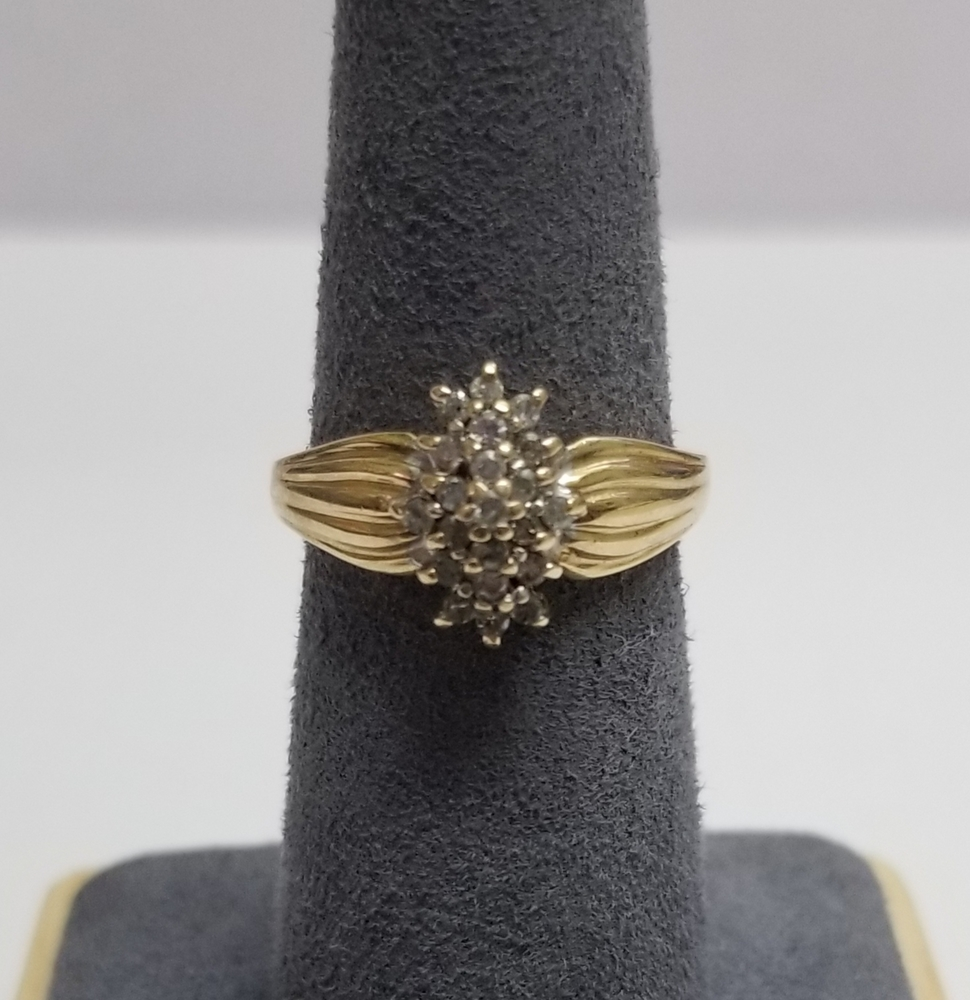 2ade7e35652 10 Karat Yellow Gold Cluster Ring - Size  6.75