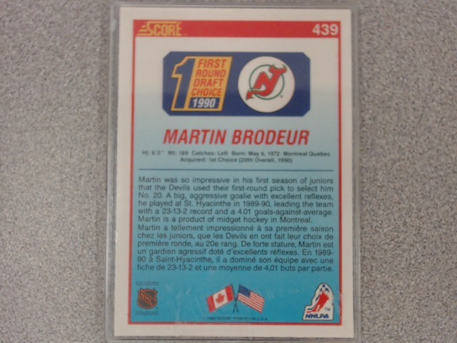Mcfarlane Series 1 Martin Brodeur Action Figure Score Rookie Card
