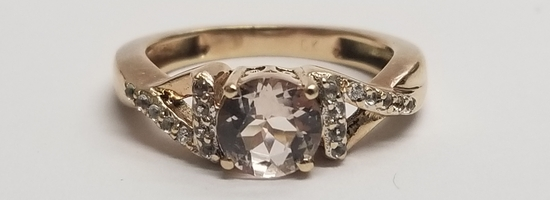10K Gold Wedding Band with 9 sparkly channel set 2pt Diamonds Size 7.25
